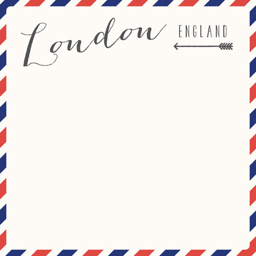 Travel Memories Collection London Air Mail 12 x 12 Double-Sided Scrapbook Paper by Scrapbook Customs