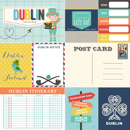 Travel Memories Collection Dublin Journal 12 x 12 Double-Sided Scrapbook Paper by Scrapbook Customs