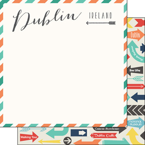 Travel Memories Collection Dublin Air Mail 12 x 12 Double-Sided Scrapbook Paper by Scrapbook Customs