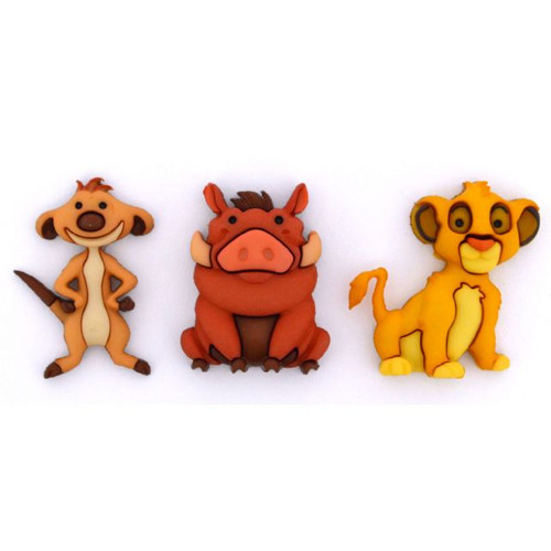 Disney Dress It Up Collection Lion King's Simba, Timon & Pumbaa Scrapbook Button Embellishments by Jesse James Buttons