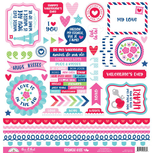 French Kiss Collection This & That 12 x 12 Scrapbook Sticker Sheet by Doodlebug Design