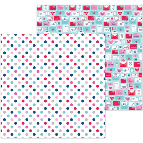 French Kiss Collection Love You Dots 12 x 12 Double-Sided Scrapbook Paper by Doodlebug Design