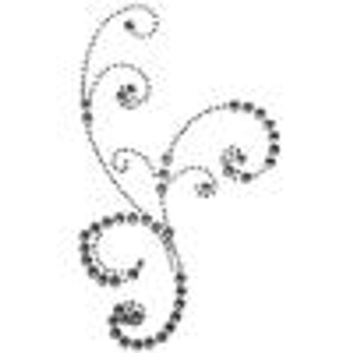 Frilly Flourish Swirl Silver Rhinestone 4 x 7 Scrapbook Bling Embellishment by Want 2 Scrap