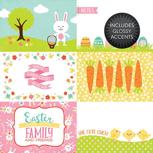 Celebrate Easter Collection 4 x 6 Journaling Cards 12 x 12 Double-Sided Scrapbook Paper by Echo Park Paper