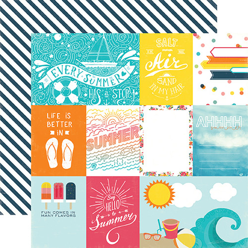 Summer Party Collection Journaling Cards 12 x 12 Double-Sided Scrapbook Paper by Echo Park Paper