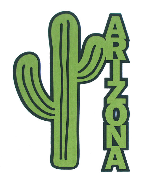 Arizona Cactus 4 x 6 Laser Cut Scrapbook Embellishment by SSC Laser Designs