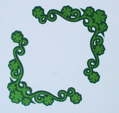 Shamrock Clover Glittered Green (2) - 5 x 5 Corner Laser Cut Scrapbook Embellishment by SSC Laser Designs