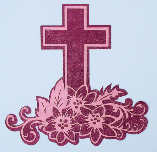 Glittered Easter Cross 6 x 6 Laser Cut Scrapbook Embellishment by SSC Laser Designs