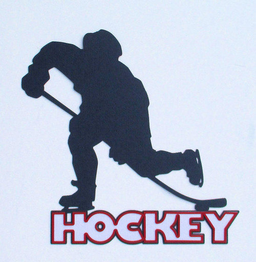 Hockey Player 5 x 6 Laser Cut Scrapbook Embellishment by SSC Laser Designs