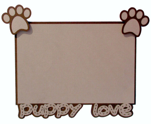 Puppy Love & Paws 4.25 x 6.25 Laser Cut Photo Mat Frame Scrapbook Embellishment by SSC Laser Designs