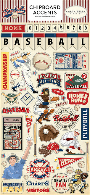 Baseball Collection 6 x 12  Chipboard Accents Scrapbook Embellishments by Carta Bella