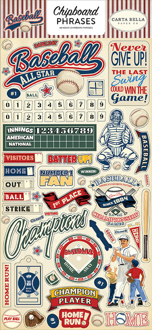 Baseball Collection 6 x 12  Chipboard Phrases Scrapbook Embellishments by Carta Bella