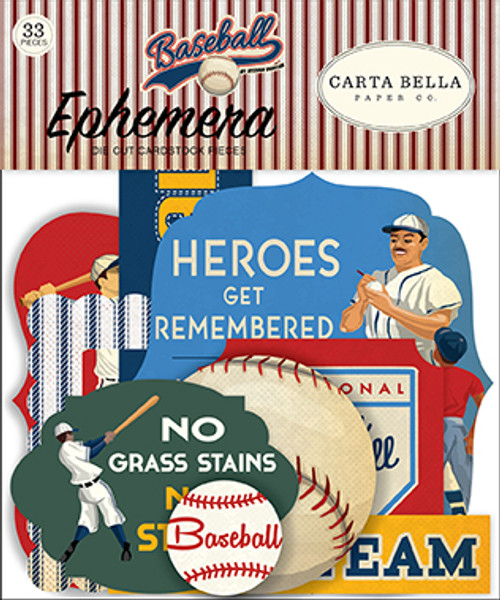 Baseball Collection 4.5 x 5 Ephemera Die Cut Scrapbook Cardstock Pieces by Carta Bella - 33 Pieces