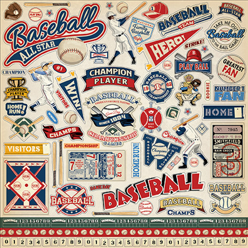 Baseball Collection Element 12 x 12 Scrapbook Sticker Sheet by Carta Bella