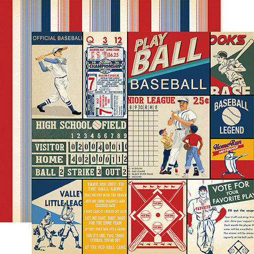 Baseball Collection Multi Journaling Cards 12 x 12 Double-Sided Scrapbook Paper by Carta Bella
