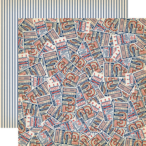 Baseball Collection Baseball Tickets 12 x 12 Double-Sided Scrapbook Paper by Carta Bella