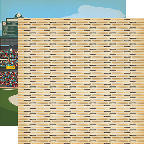 Baseball Collection Hey Batter Batter 12 x 12 Double-Sided Scrapbook Paper by Carta Bella