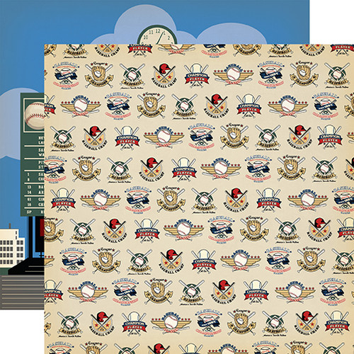 Baseball Collection All Star Player 12 x 12 Double-Sided Scrapbook Paper by Carta Bella