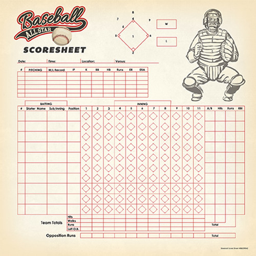 Baseball Collection Baseball Championship 12 x 12 Double-Sided Scrapbook Paper by Carta Bella