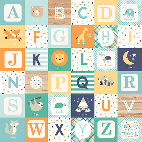 Hello Baby Boy Collection Boy Alphabet Blocks 12 x 12 Double-Sided Scrapbook Paper by Echo Park Paper