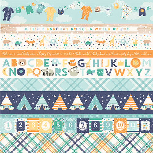 Hello Baby Boy Collection Border Strips 12 x 12 Double-Sided Scrapbook Paper by Echo Park Paper