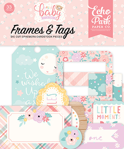 Hello Baby Girl Collection 4.5 x 5 Die Cut Cardstock Scrapbook Frames & Tags by Echo Park Paper