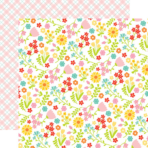 Easter Wishes Collection Floral Fun 12 x 12 Double-Sided Scrapbook Paper by Echo Park Paper