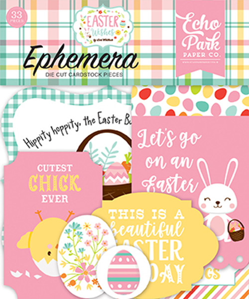 Easter Wishes Collection 4.5 x 5 Die Cut Cardstock Scrapbook Ephemera by Echo Park Paper