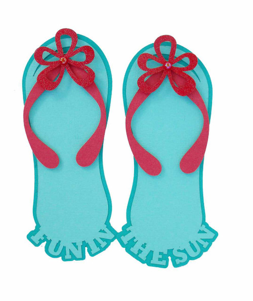 Fun In The Sun Aqua & Pink Flip Flops 5 x 6 Laser Cut Scrapbook Embellishments by SSC Laser Designs
