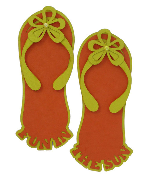 Fun In The Sun Orange & Yellow Flip Flops 5 x 6 Laser Cut Scrapbook Embellishments by SSC Laser Designs