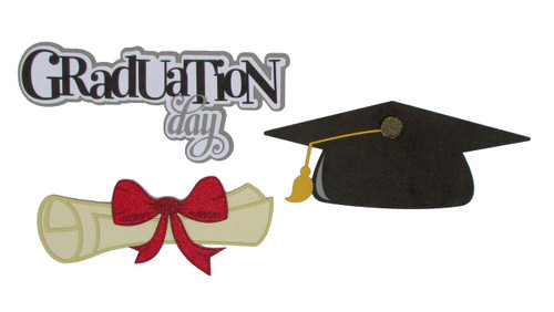 Graduation Collection Graduation Day, Mortar & Diploma 3-Piece Laser Cut Embellishments  by SSC Laser Designs