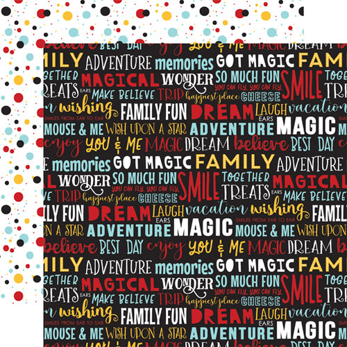Magical Adventure 2 Collection Dream Big Words 12 x 12 Scrapbook Paper by Echo Park Paper