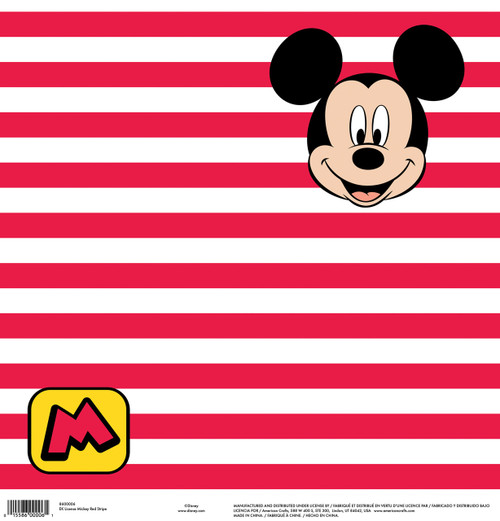 Disney Collection Mickey Red Stripe 12 x 12 Scrapbook Paper by American Crafts