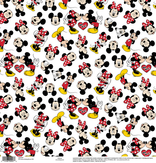 Disney Collection Mickey White Mickey & Minnie 12 x 12 Scrapbook Paper by American Crafts