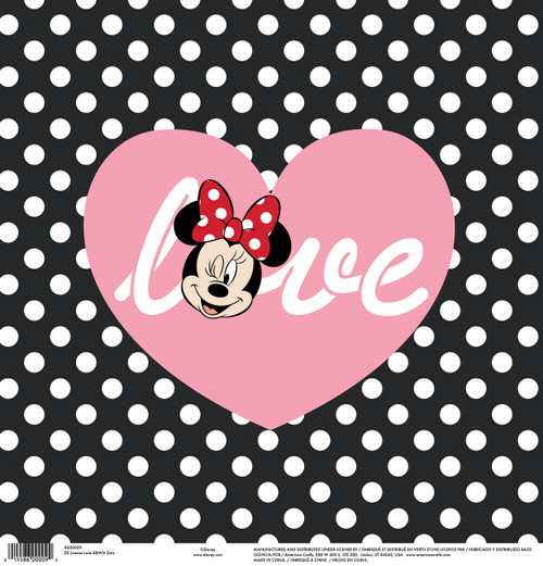 Disney Collection Minnie Love Polka Dots 12 x 12 Scrapbook Paper by American Crafts