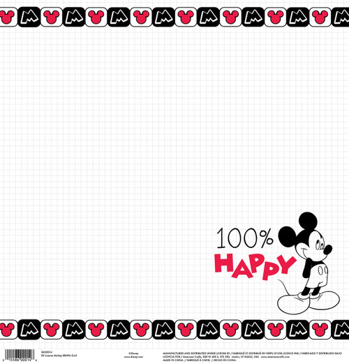 Disney Collection Mickey 100% Happy 12 x 12 Scrapbook Paper by American Crafts