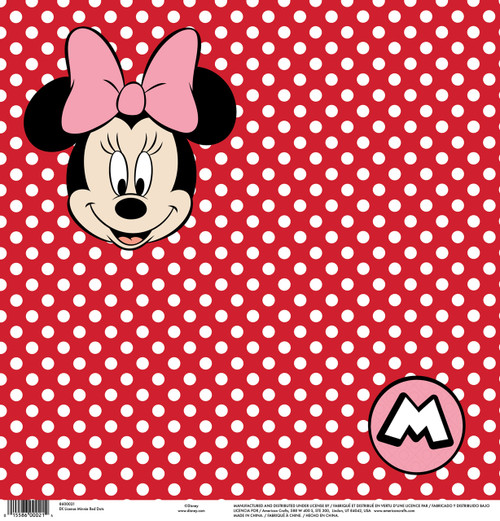 Disney Collection Minnie Red Dots 12 x 12 Scrapbook Paper by American Crafts