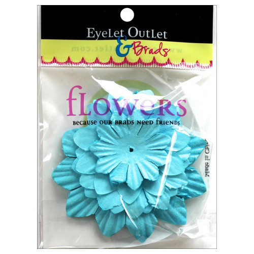 "Our Brads Need Friends Collection 1.5"", 2"", 2.5"" Blue Scrapbook Flowers by Eyelet Outlet - 40 Pieces"