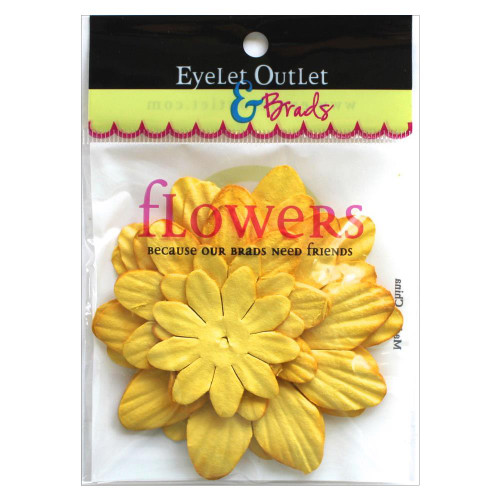 "Our Brads Need Friends Collection 1.5"", 2"", 2.5"" Yellow Scrapbook Flowers by Eyelet Outlet - 40 Pieces"