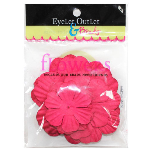 "Our Brads Need Friends Collection 1.5"", 2"", 2.5"" Red Scrapbook Flowers by Eyelet Outlet - 40 Pieces"