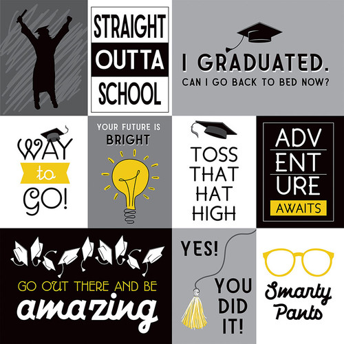 Grad Day Collection Toss Your Cap 12 x 12 Double-Sided Scrapbook Paper by Photo Play Paper