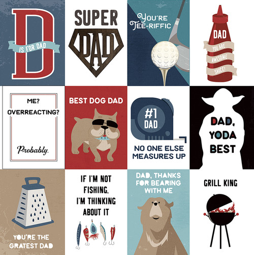 Best Dad Ever Collection Super Dad 12 x 12 Double-Sided Scrapbook Paper by Photo Play Paper