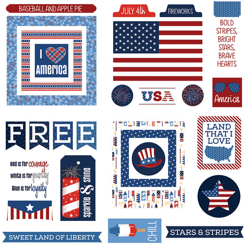 Land Of The Free Collection Ephemera 5 x 5 Die Cut Shapes by Photo Play Paper +