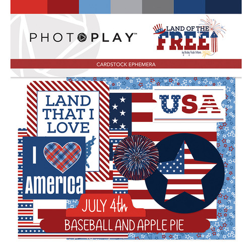 Land Of The Free Collection 4 x 4 Ephemera Die Cut Shapes by Photo Play Paper