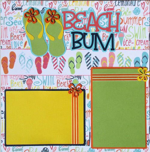 Beach Bum Premade Embellished Two-Page 12 x 12 Scrapbook Layout by SSC Designs
