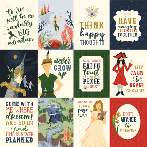 Lost In Neverland Collection 3X4 Journaling Cards 12 x 12 Double-Sided Scrapbook Paper by Echo Park Paper