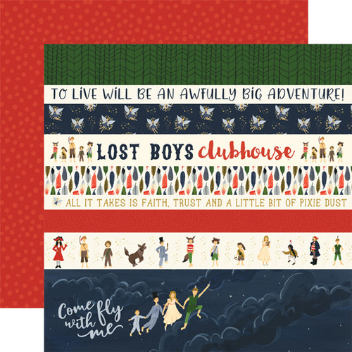 Lost In Neverland Collection Border Strips 12 x 12 Double-Sided Scrapbook Paper by Echo Park Paper