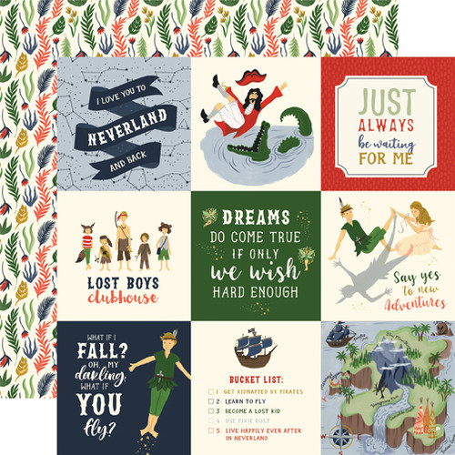 Lost In Neverland Collection 4X4 Journaling Cards 12 x 12 Double-Sided Scrapbook Paper by Echo Park Paper