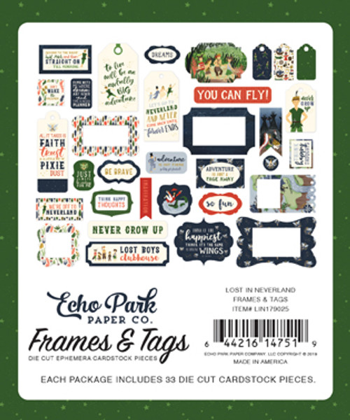 Lost In Neverland Collection 4 x 4 Frames & Tags Scrapbook Die Cuts by Echo Park Paper