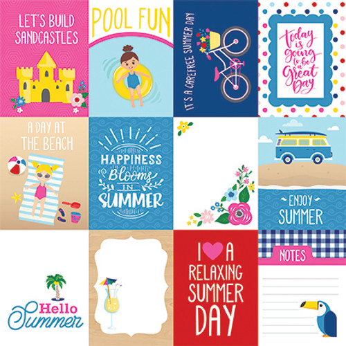 I Love Summer Collection 3X4 Journaling Cards 12 x 12 Double-Sided Scrapbook Paper by Echo Park Paper